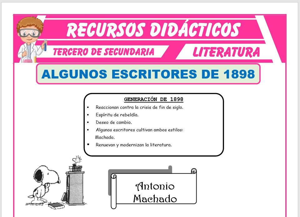 Ficha de Algunos Escritores de 1898 para Tercero de Secundaria