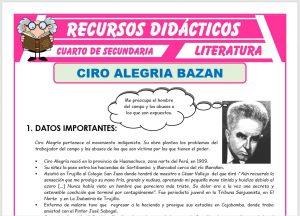 Ficha de Biografía de Ciro Alegría Bazán para Cuarto de Secundaria