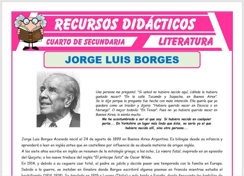 Ficha de Biografía de Jorge Luis Borges para Cuarto de Secundaria