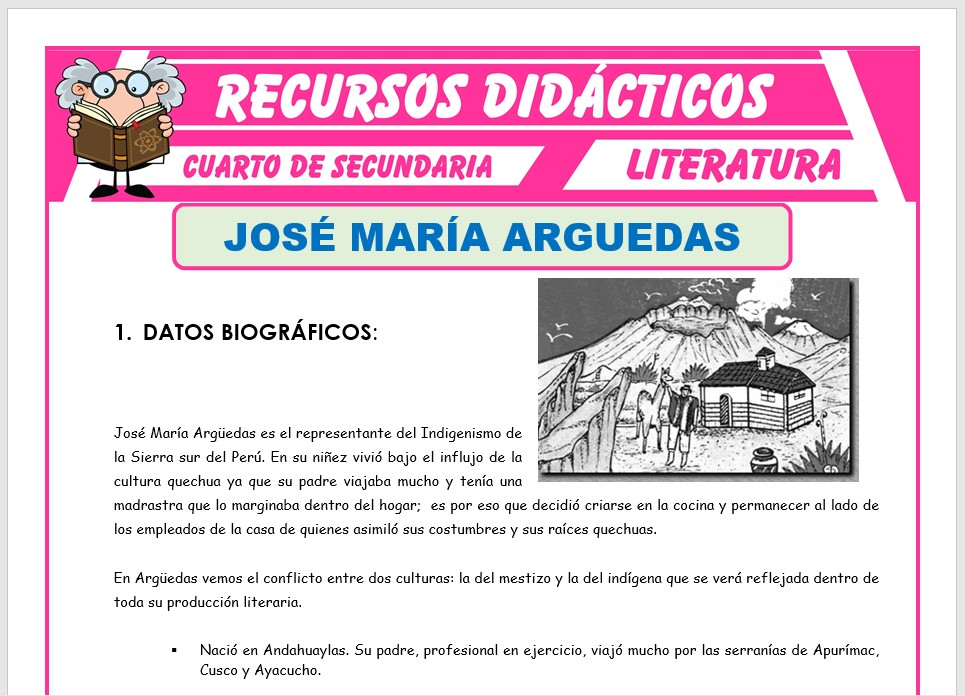 Ficha de Biografía de José María Arguedas para Cuarto de Secundaria
