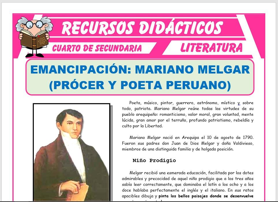 Ficha de Biografía de Mariano Melgar para Cuarto de Secundaria