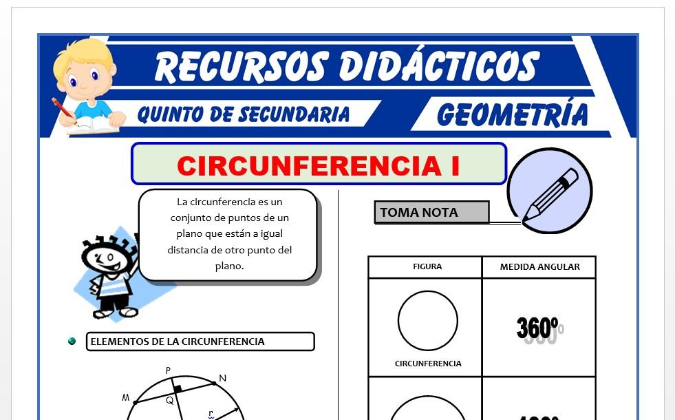 Ficha de Circunferencia Ejercicios para Quinto Grado de Secundaria