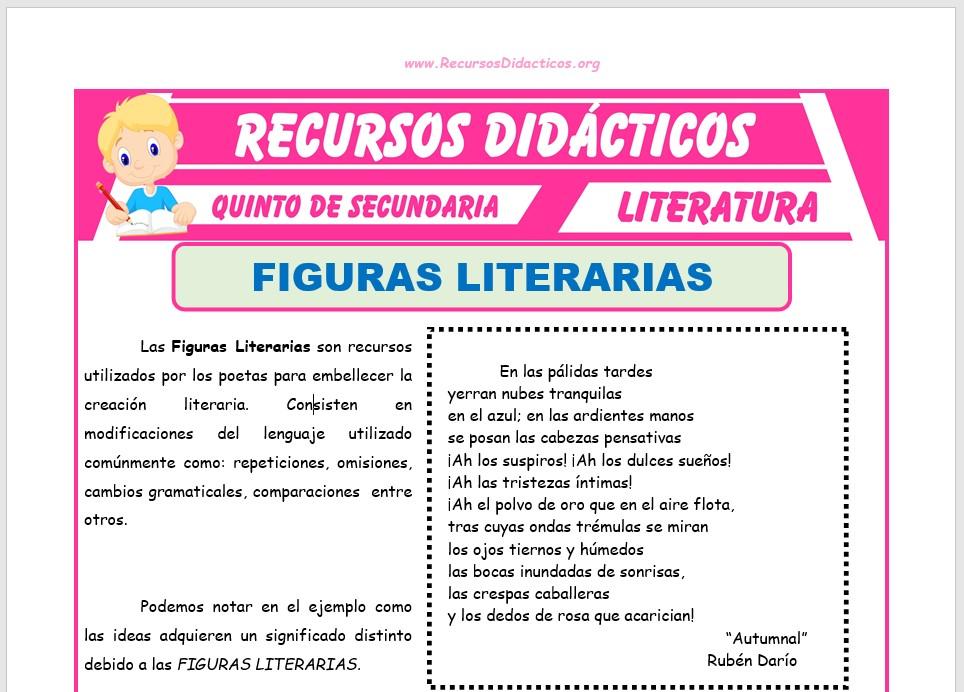 Ficha de Clases de Figuras Literarias para Quinto de Secundaria