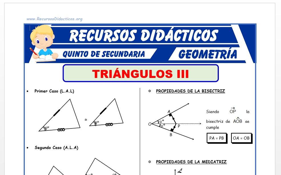 Ficha de Congruencia de Triangulos Ejercicios para Quinto Grado de Secundaria