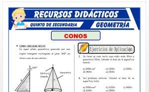 Ficha de Ejercicios de Conos para Quinto Grado de Secundaria