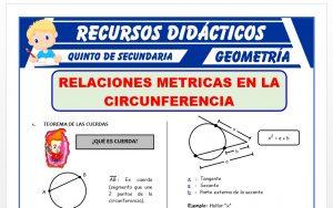 Ficha de Ejercicios de Relaciones Métricas de las Circunferencias para Quinto Grado de Secundaria