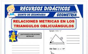 Ficha de Ejercicios de Relaciones Métricas en Triangulos Oblicuangulos para Quinto Grado de Secundaria