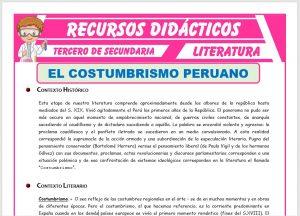 Ficha de El Costumbrismo Peruano para Tercero de Secundaria