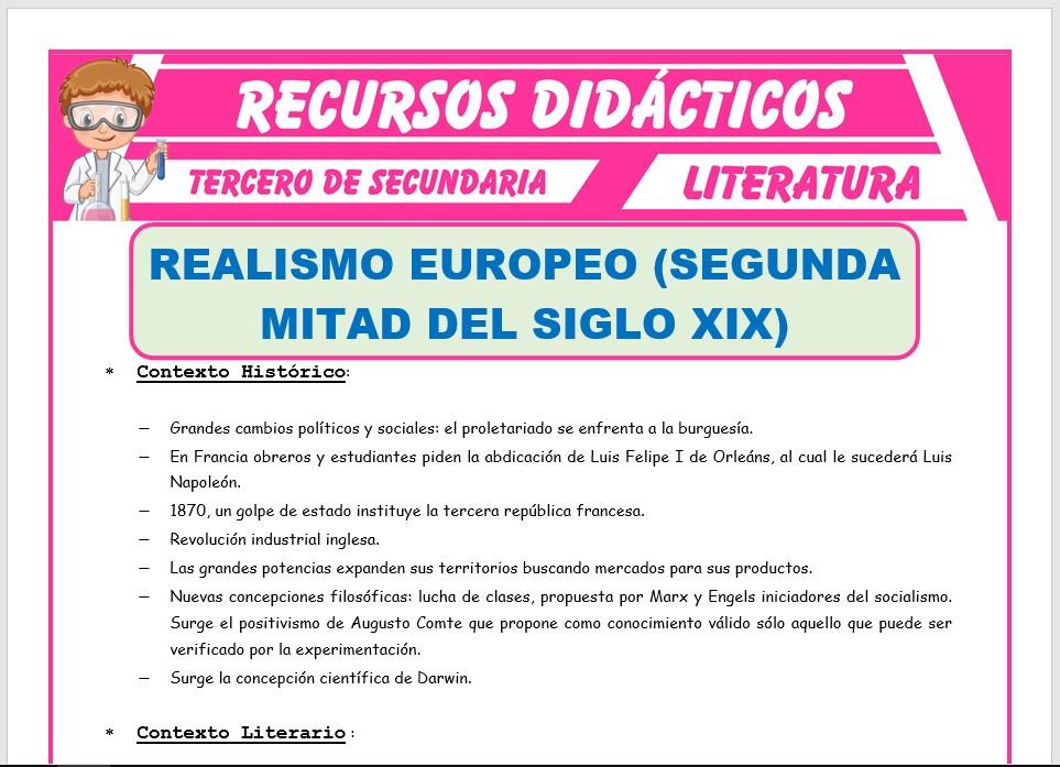 Ficha de El Realismo Europeo para Tercero de Secundaria