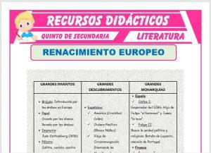 Ficha de El Renacimiento Europeo para Quinto de Secundaria