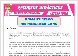 Ficha de El Romanticismo Hispanoamericano para Tercero de Secundaria