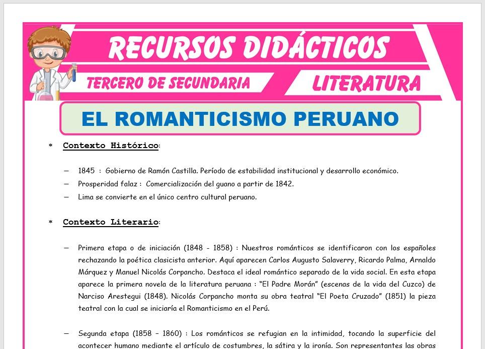 Ficha de El Romanticismo Peruano para Tercero de Secundaria