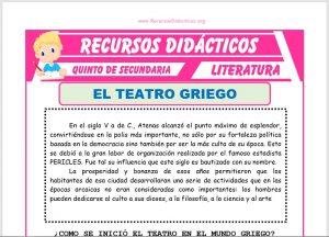 Ficha de El Teatro Griego para Quinto de Secundaria