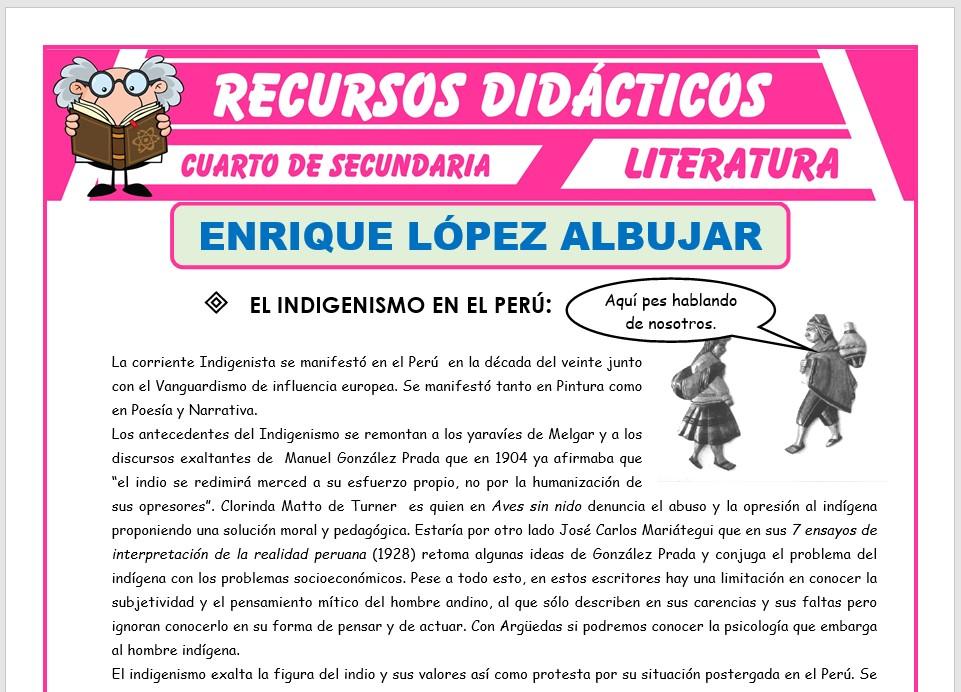 Ficha de Enrique López Albújar para Cuarto de Secundaria