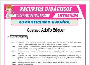 Ficha de Gustavo Adolfo Bécquer para Tercero de Secundaria