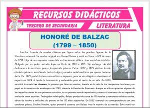 Ficha de Honoré de Balzac para Tercero de Secundaria