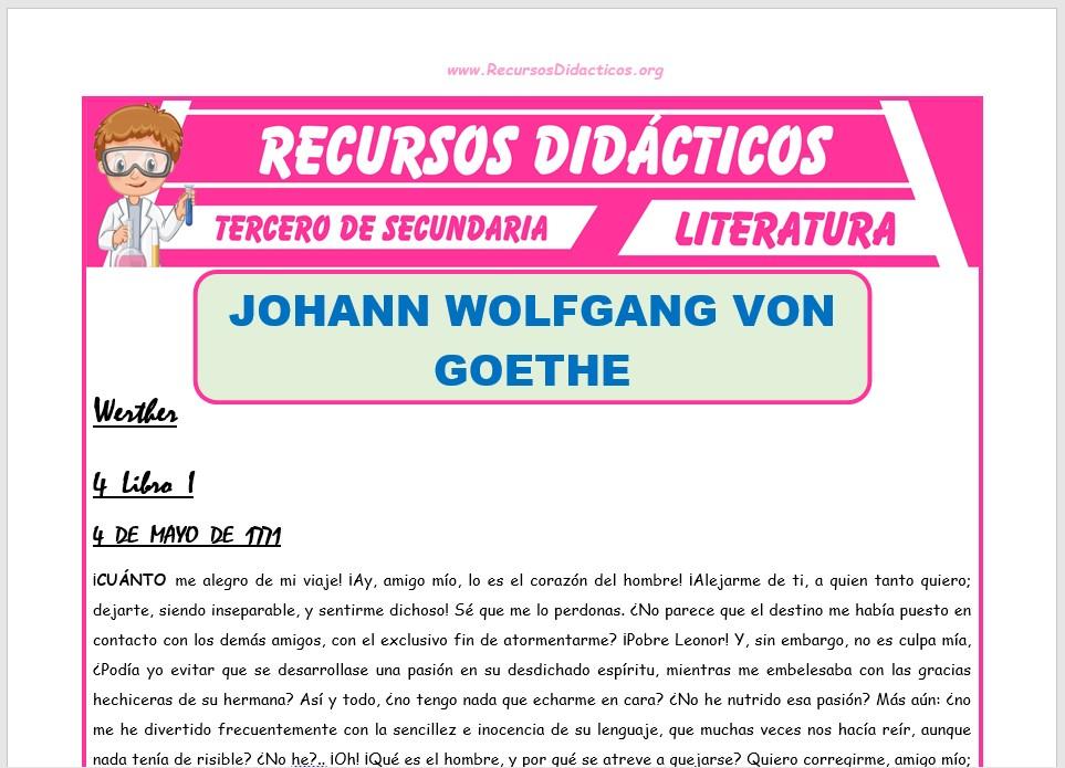 Ficha de Johann Wolfgang Von Goethe para Tercero de Secundaria