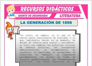 Ficha de La Generación de 1898 para Quinto de Secundaria