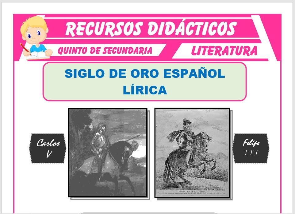 Ficha de La Lírica del Siglo de Oro Español para Quinto de Secundaria
