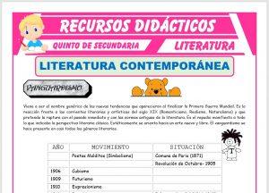 Ficha de La Literatura Contemporánea para Quinto de Secundaria