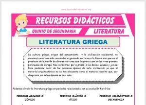Ficha de La Literatura Griega para Quinto de Secundaria