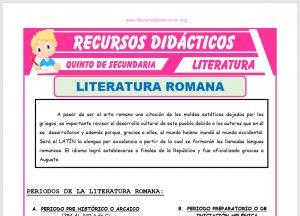 Ficha de La Literatura Romana para Quinto de Secundaria