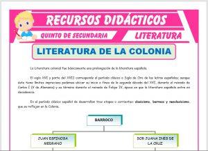 Ficha de La Literatura de la Colonia para Quinto de Secundaria