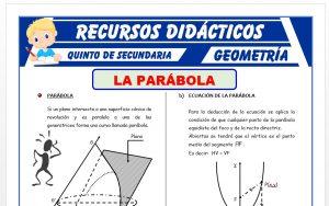 Ficha de La Parábola - Geometría Analítica para Quinto Grado de Secundaria