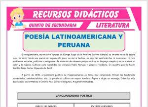 Ficha de La Poesía Latinoamericana y Peruana para Quinto de Secundaria