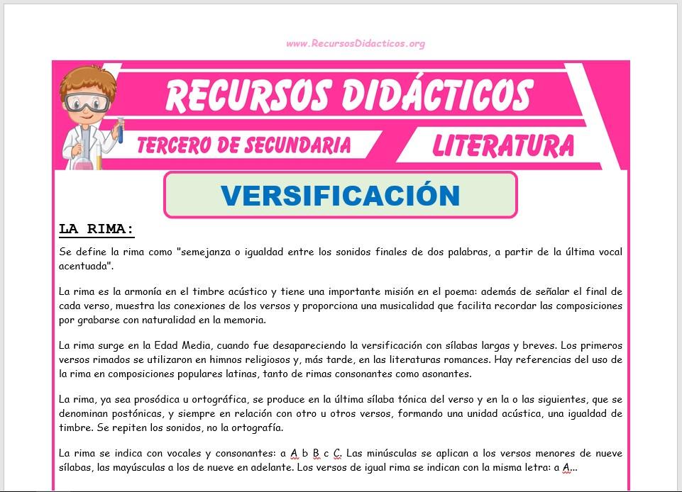 Ficha de La Rima para Tercero de Secundaria
