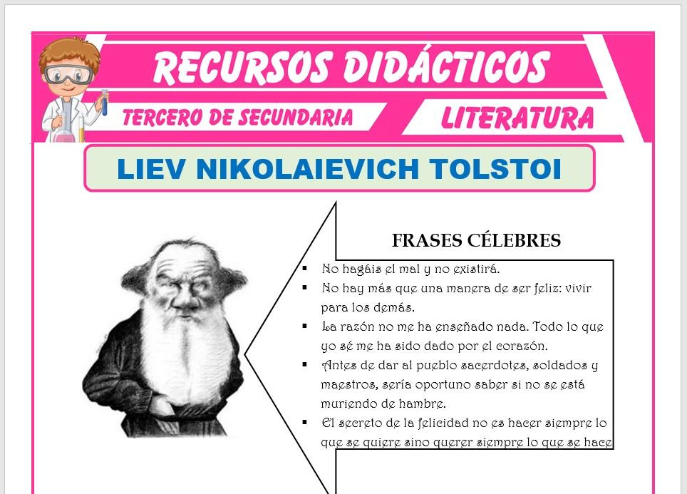 Ficha de Liev Nikolaievich Tolstoi para Tercero de Secundaria