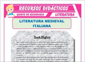 Ficha de Literatura Medieval Italiana para Quinto de Secundaria