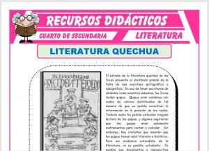 Ficha de Literatura Quechua para Cuarto de Secundaria