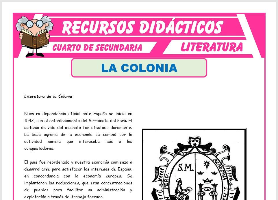Ficha de Literatura de la Colonia para Cuarto de Secundaria