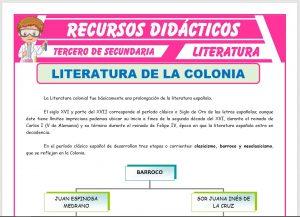 Ficha de Literatura de la Colonia para Tercero de Secundaria