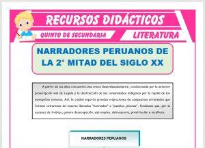 Ficha de Los Narradores Peruanos para Quinto de Secundaria