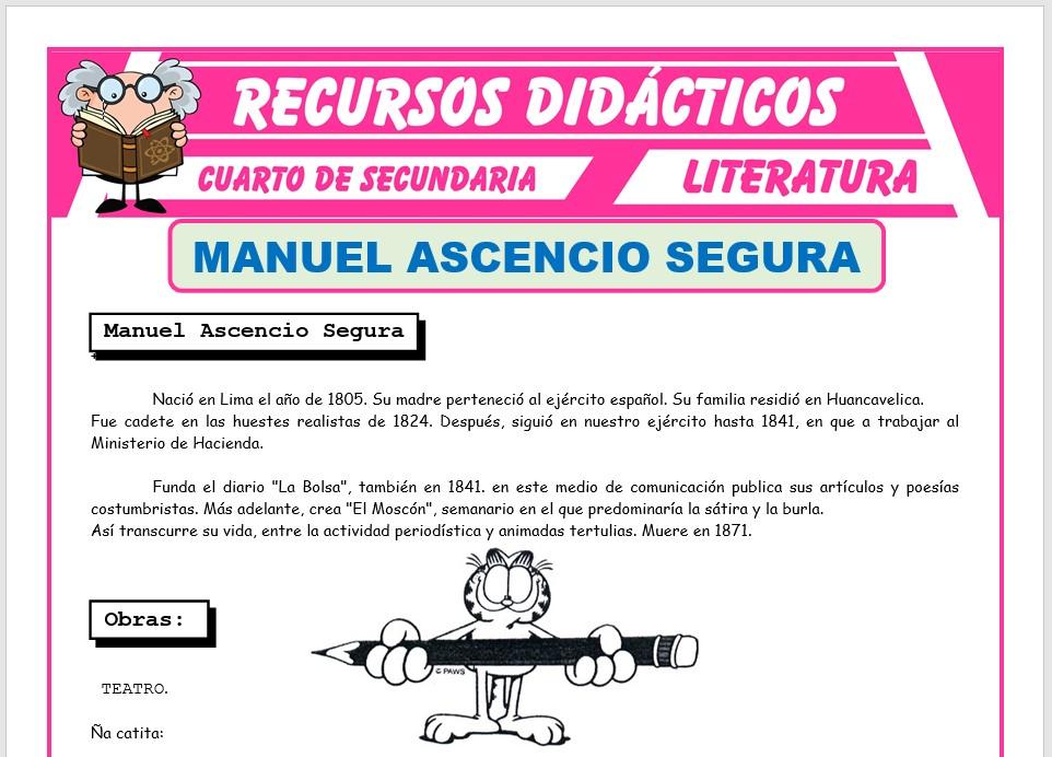 Ficha de Manuel Ascencio Segura para Cuarto de Secundaria