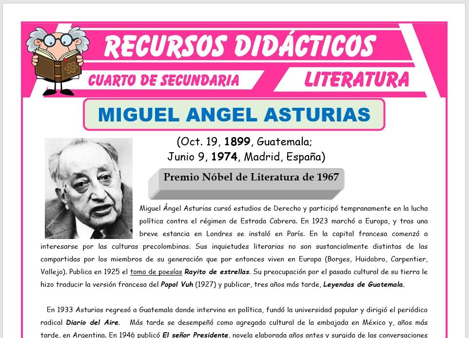 Ficha de Miguel Angel Asturias y Alejo Carpentier para Cuarto de Secundaria
