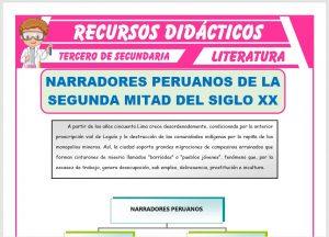 Ficha de Narradores Peruanos para Tercero de Secundaria
