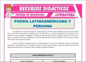 Ficha de Poesía Latinoamericana y Peruana para Tercero de Secundaria