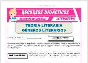 Ficha de Principales Géneros Literarios para Quinto de Secundaria