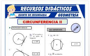 Ficha de Propiedades de la Circunferencia para Quinto Grado de Secundaria