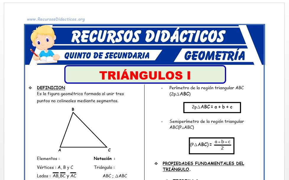 Ficha de Propiedades del Triangulo para Quinto Grado de Secundaria