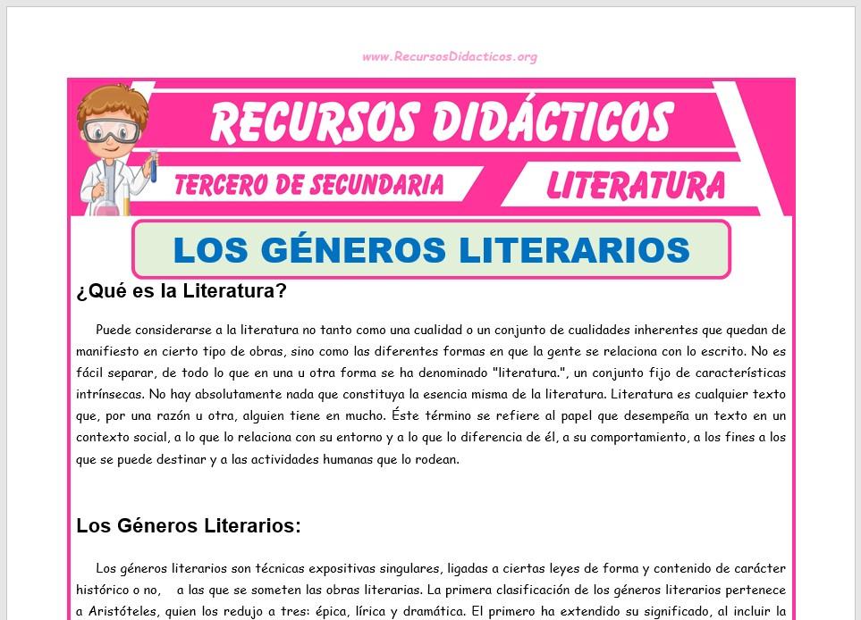 Ficha de Que es la Literatura para Tercero de Secundaria