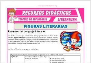 Ficha de Recursos del Lenguaje Literario para Tercero de Secundaria