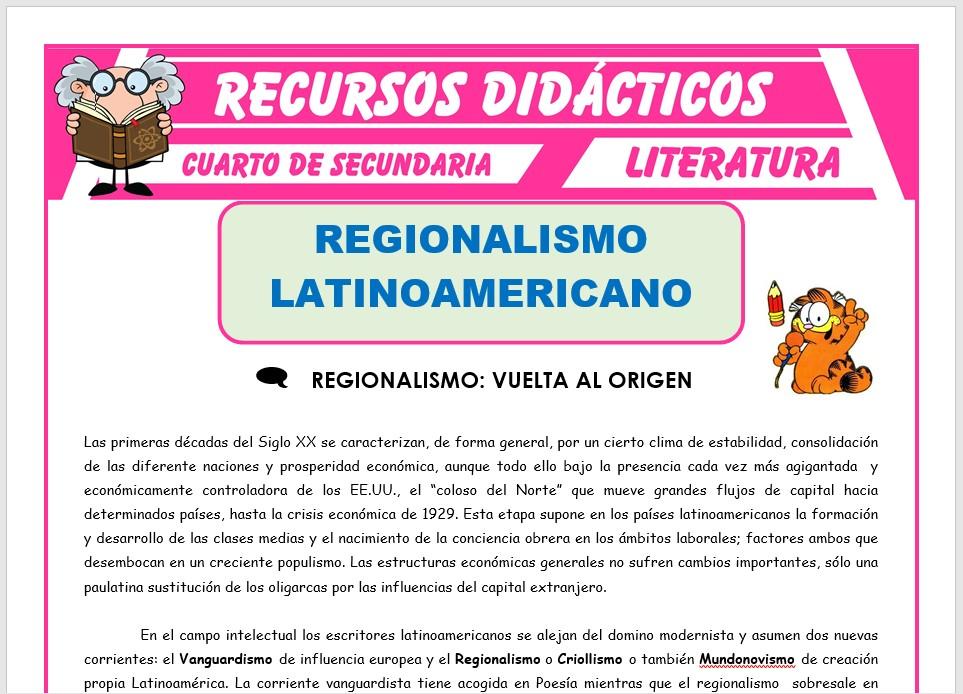 Ficha de Regionalismo Latinoamericano para Cuarto de Secundaria