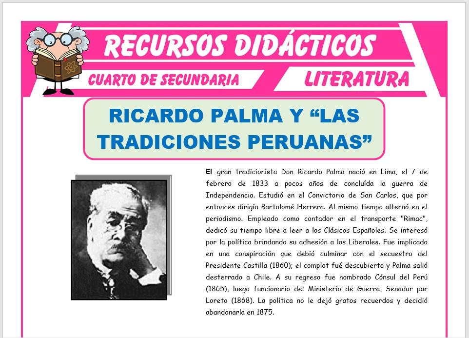 Ficha de Ricardo Palma y las Tradiciones Peruanas para Cuarto de Secundaria