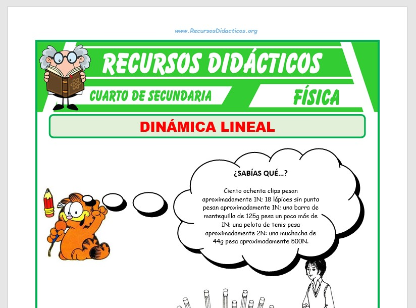 Ficha de Ejercicios de Dinámica Lineal para Cuarto de Secundaria