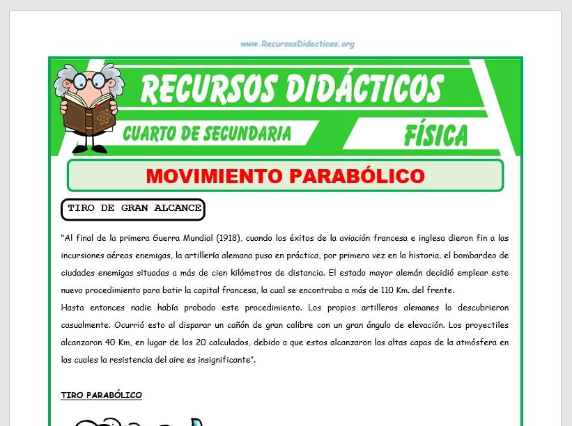 Ficha de Ejercicios de Movimiento Parabólico de Caída Libre para Cuarto de Secundaria