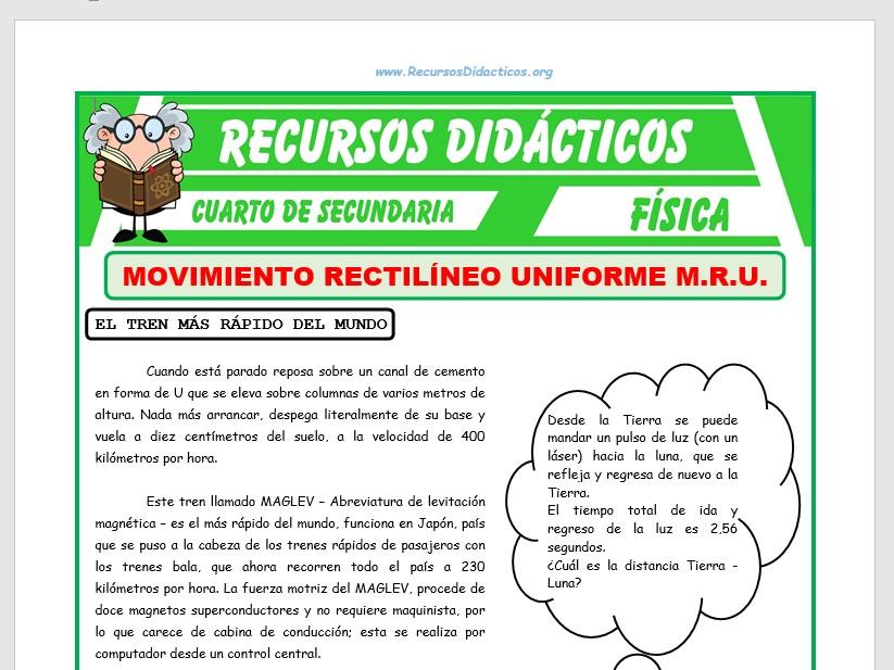 Ficha de Ejercicios de Movimiento Rectilíneo Uniforme para Cuarto de Secundaria